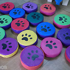 6  x Animal Print. Soft Play Stepping Stones  12inch x 3inch Mixed Colours