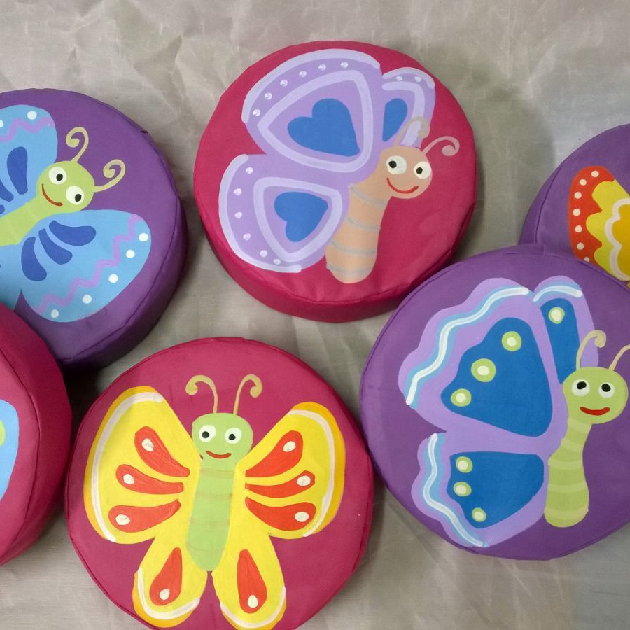 6  x Soft Play Stepping Stones Butterfly Set Hand Painted. 12inch x 3inch Mixed (1)