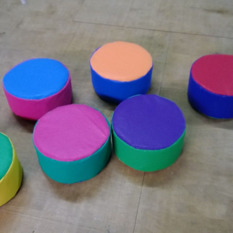 "New Soft Play Circles x 6  ideal soft play stepping stones  12"" x 6"" High"